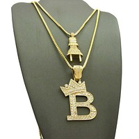 14K Gold Plated Electric Power Plug & King 'B' Pendant Necklace Set 04