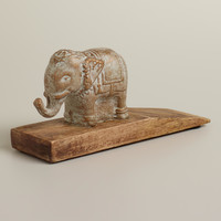 Wooden Elephant Doorstop - World Market
