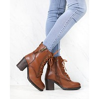 Amelia Distressed Bootie in Camel