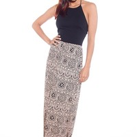 Haute Homage Mosaic Print Maxi Halter Dress - Black