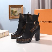 lv louis vuitton trending womens black leather side zip lace up ankle boots shoes high boots 38