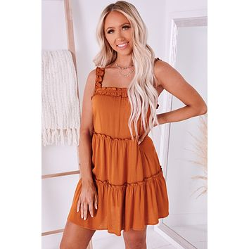 Cheery Disposition Tiered Ruffle Dress (Rust)