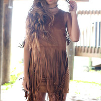 Tundra Tan Fringe Suede Dress