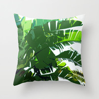 Banana Palms - Throw Pillow Cover, White & Green Tropical Loft Bungalow Home Beach Surf Decor Furnishing Accent. In 16x16 18x18 20x20 Inches