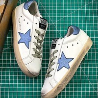 GGDB Golden Goose Uomo Donna Blue Star Fashion White Shoes