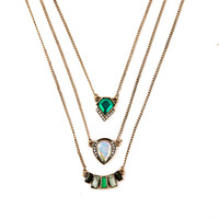 Multilayer Indian Hot Sale Designer Jewelry Summer Tide All Match Emerald Necklaces & Pendants
