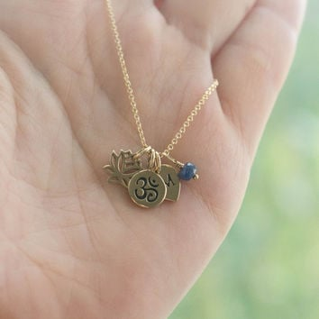 Personalized Tiny Yoga Charm Necklace - Yoga Jewelry . Outdoor & Sportsman . Gift Ideas for Her . Bronze Charms on 14K Gold Filled Chain