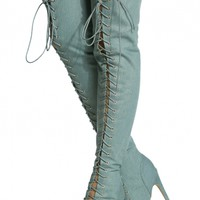 Denim Lace Up Open Toe Thigh High Boots @ Cicihot Boots Catalog:women's winter boots,leather thigh high boots,black platform knee high boots,over the knee boots,Go Go boots,cowgirl boots,gladiator boots,womens dress boots,skirt boots.