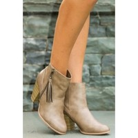 Famous In The Making Booties-Taupe