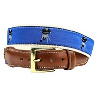 Grillin' Leather Tab Belt in Blue on Natural Canvas by Country Club Prep