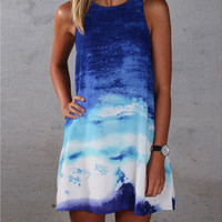 Tie Dye Gradient Sleeveless Dress