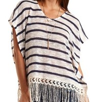 Fringe-Trim Striped Poncho Top by Charlotte Russe