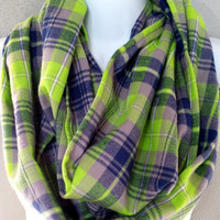 Seattle Themed Chunky Plaid Flannel Infinity Scarf Womens Navy & Lime with Grey Plaid Winter Scarf Girls Plaid Fashion Accessories