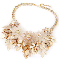 Khaki Beaded Floral and Leaves Cluster Necklace