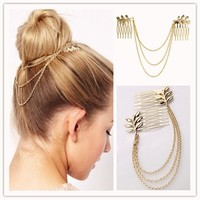 Women Fashion Gold Alloy Tassel Leaf Comb Cuff Chain Jewelry Headband Girl Hair Band HOT = 5658555649