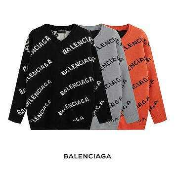 Balenciaga 2018 new trend letter logo embroidery round neck long-sleeved sweater