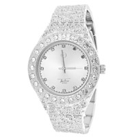Men's Silver Tone  Solitaire Bezel Nugget Band Watch
