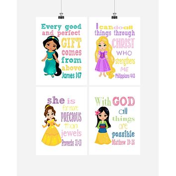 Princess Christian Nursery Decor Set of 4 Prints, Rapunzel, Jasmine, Belle and Mulan with Bible Verses