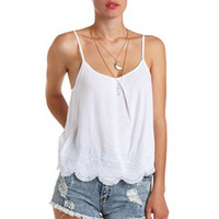 STRAPPY-BACK EMBROIDERED & SCALLOPED CAMI