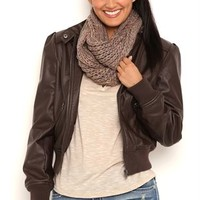 Distressed Faux Leather Bomber Jacket with Puff Shoulders and Zipper