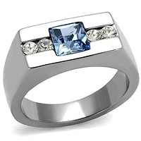 Cool Mens Rings TK2307 Stainless Steel Ring with Crystal in Aquamarine