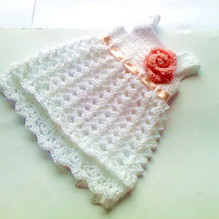 White Baby dress Frock baby Clothes Newborn Outfit Dress Shower gift Photo prop Take home Christening Infant easter Dress