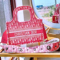 Dior shopping bag Dior 2020 early spring with rivet wide shoulder strap Mini Book Tote Square Bag