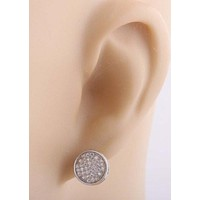 Mens Pair of Sterling Silver Stud Earrings Macro Pave Iced Out Silver Stud Earrings Circle Shaped