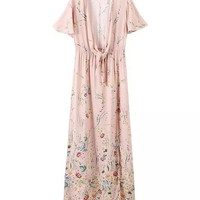 Floral Short Sleeve Neck-Tying Shift Maxi Dress