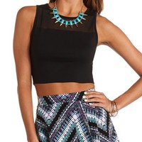 MESH YOKE SLEEVELESS CROP TOP