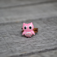 Little Pink Owl Adjustable Ring - Pink Tiny Owl - Button
