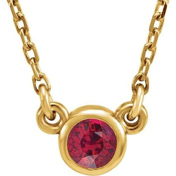 "14K Yellow Gold 3 mm Round Chatham® Lab-Created Ruby Bezel-Set Solitaire 16"" Necklace"