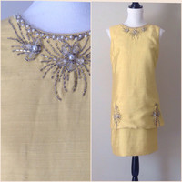 Vintage 1960's Silk Shift / Cocktail Dress / Yellow / Beading / Party Dress / Evening Dress / Vintage Dress / Women's Clothing/ Pearls