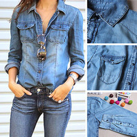 Retro vintage Women Long Sleeve Casual Blue Jean Denim Shirt Tops Blouse Jacket