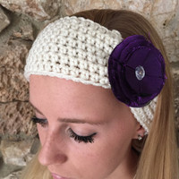 Ecru Crochet Headband with Purple Taffeta Flower  Women's Hairband, Crochet Headwrap, Fall, Winter Headband -  READY TO SHIP!