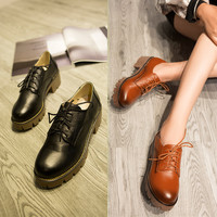 Summer Leather England Style Vintage Casual Thick Crust Shoes [4919287684]