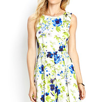 LOVE 21 Floral Pleated Woven Dress Ivory/Green