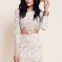 New Stylish Ladies Women Two Pieces Long Sleeve Embroidered Floral Crop Top And Sexy Floral Skirt