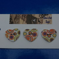 Buttons Large Heart Shaped with Multi Coloured Circle Design
