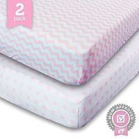Ziggy Baby Jersey Cotton Fitted Crib Sheet Set, Pink/White, 2 Pack