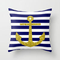Gold Anchor Throw Pillow by M Studio