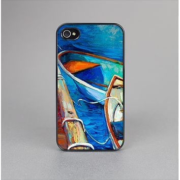 The Colorful Pastel Docked Boats Skin-Sert Case for the Apple iPhone 4-4s