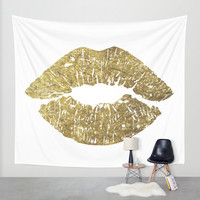Gold Lips, Vanity Decor Wall Tapestry by PeachAndGold