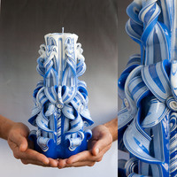 Carved candle -  Blue and white candle - Large candle