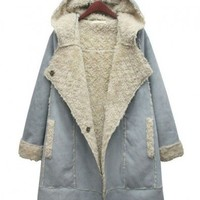 Blue Longline Hooded Suede Panel Design Coat with Shearling Lining