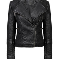 Black Collarless Biker Jacket in Faux Leather