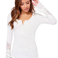 Buttons Up Scoop Neckline Long Sleeve Shirt with Floral Sheer Lace Cut-Outs