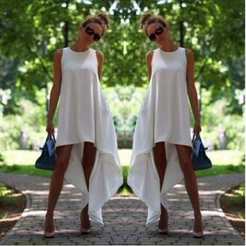 New 2015 Fashion Female Clothing Summer Sleeveless White irregular one-piece Dresses Long Design Formal Women Casual Dress