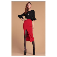 Sexy Womens Ladies Pencil Fit Skirt Pencil Slim Tight Skirt Waist Banded Rayon Long Slit Skirts