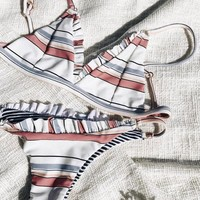 Hot Summer Swimsuit New Arrival Sexy Beach Swimwear Ruffle Stripes Bikini [749930086516]